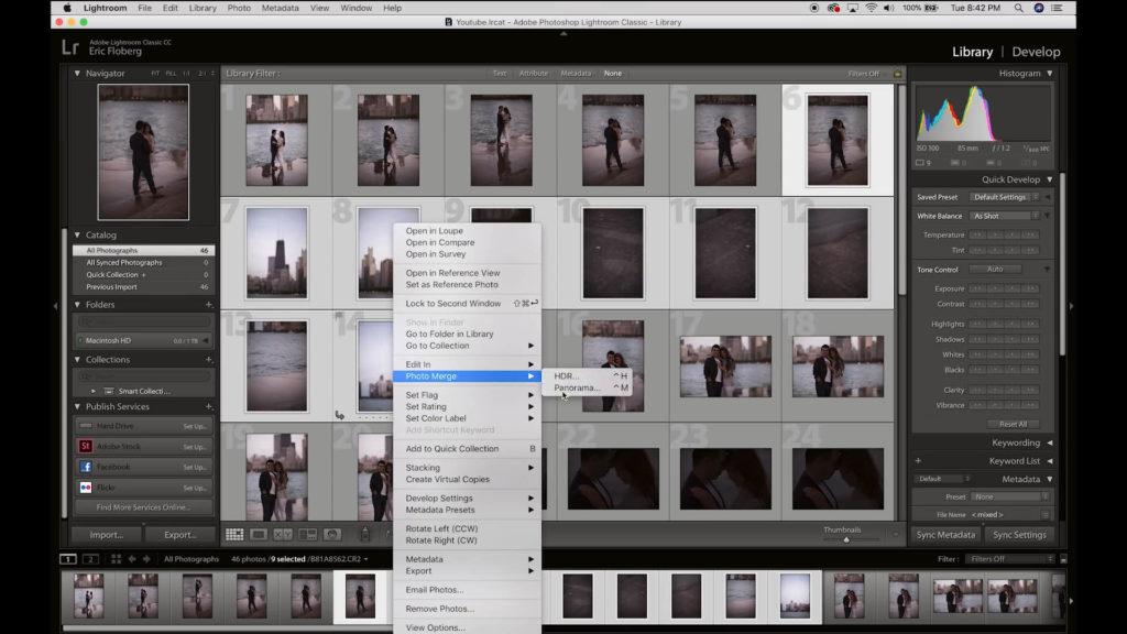 在Lightroom中,將連拍照選取,點選右鍵選擇「Photo Merge / Panorama...」進行全景自動接圖