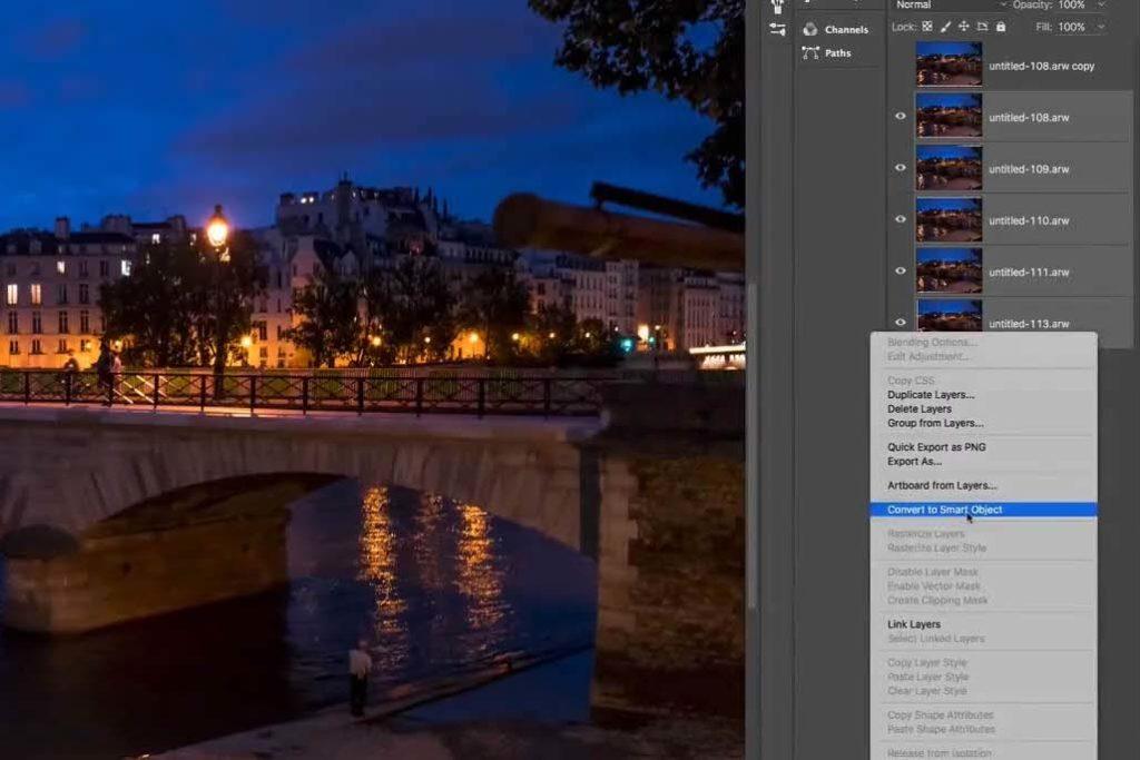 在圖層中選取五張照片,並從右鍵選單中轉成智慧型物件