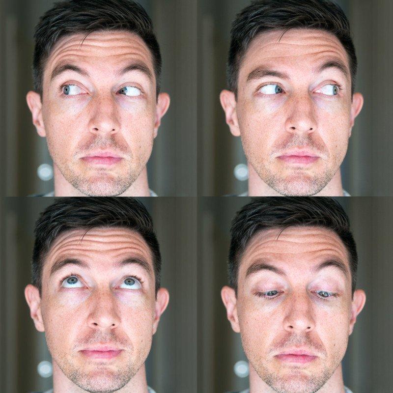 盡可能往上、下、左、右、四個方向分別拉伸眼球肌肉