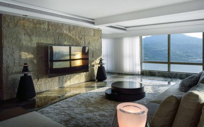 台北淡水市空間攝影案例-客廳夕陽全景